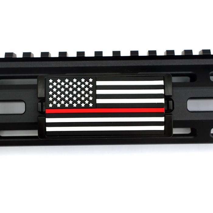 Red Line Flag Stars Left KeyLok Rail Cover- Black Retainer