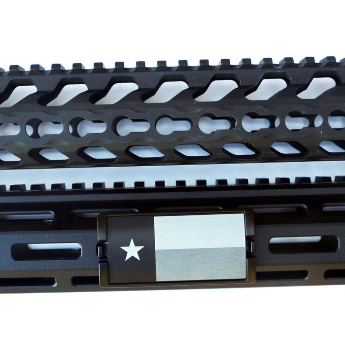 Laser Engraved Texas Flag KeyLok Rail Cover- Black Retainer