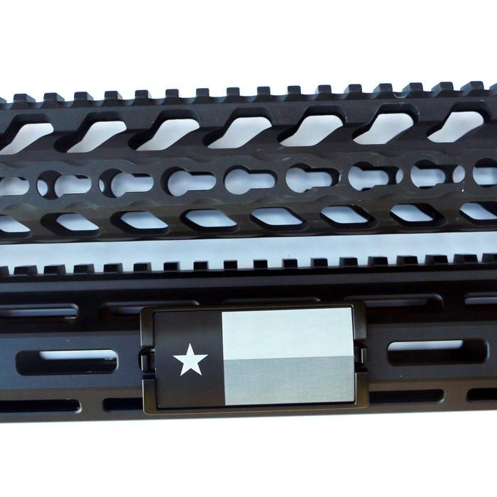 Laser Engraved Texas Flag KeyLok Rail Cover- Black Retainer