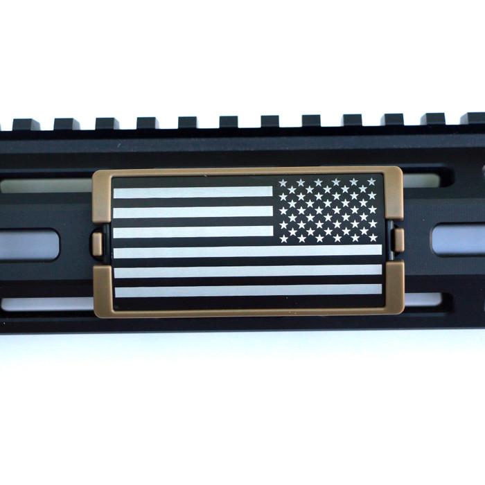 US Flag Laser Engraved Stars Right KeyLok Rail Cover- FDE Retainer