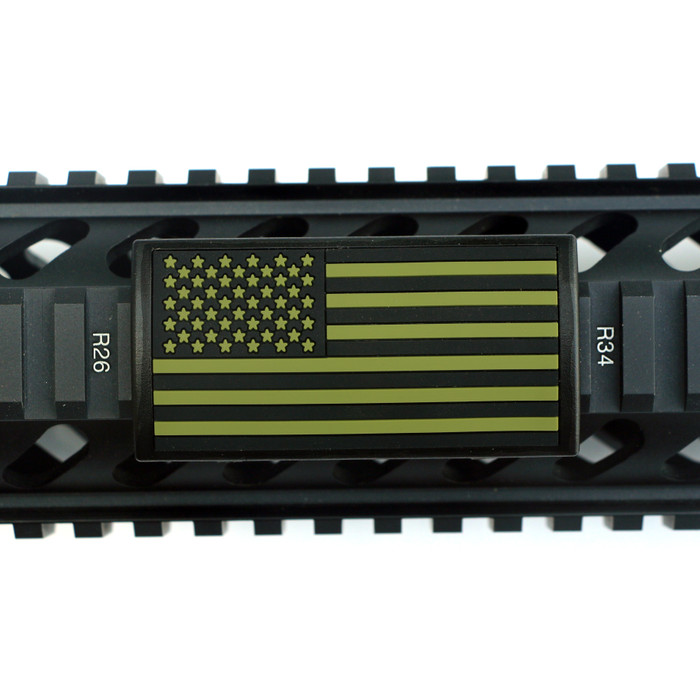 OD Green and Black US Flag Picatinny Stars Left- Black Retainer