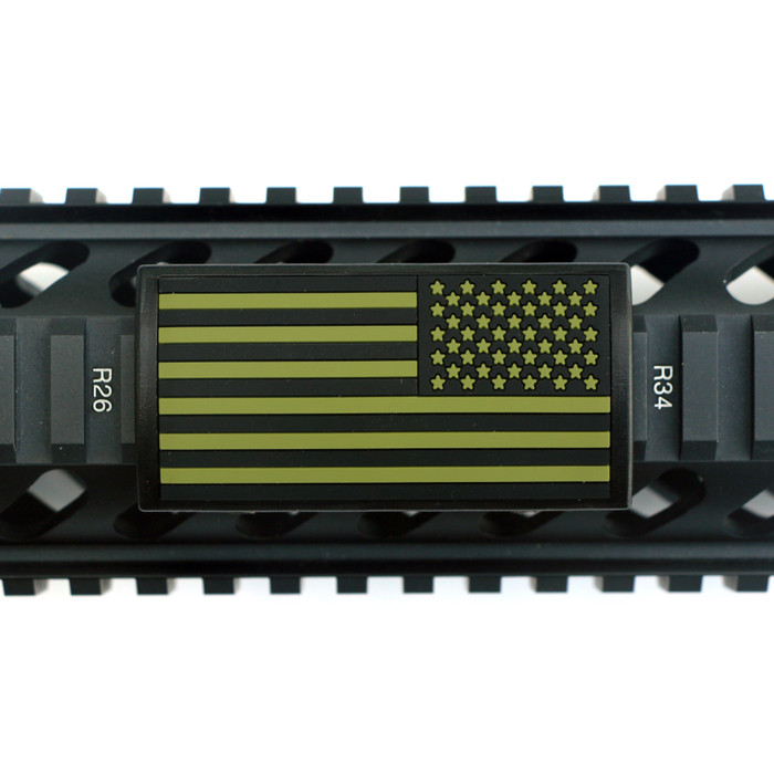 OD Green and Black PVC US Flag Stars Right Picatinny Rail Cover