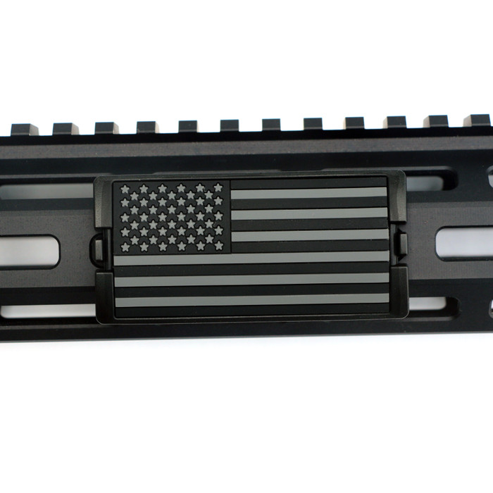 Grey and Black PVC US Flag Stars Left KeyLok Rail Cover- Black Retainer