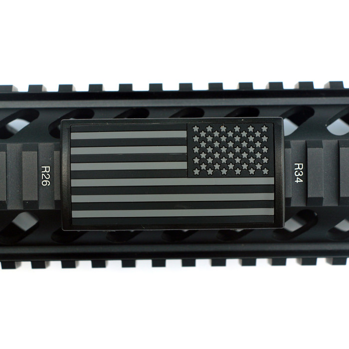 Grey and Black US Flag Stars Right PVC Picatinny Rail Cover- Black Retainer