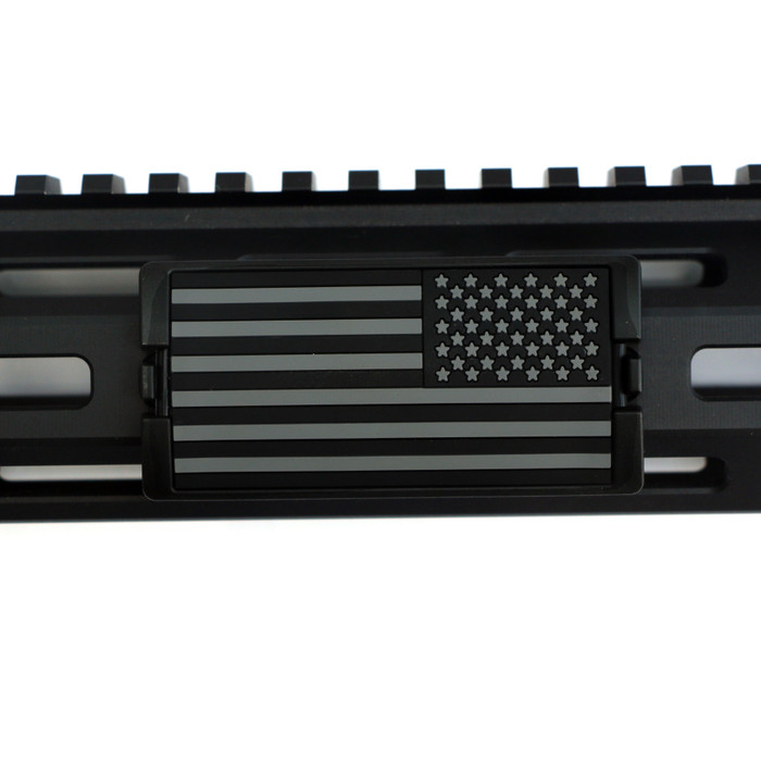 Grey and Black US Flag Stars Right PVC KeyLok Rail Cover- Black Retainer