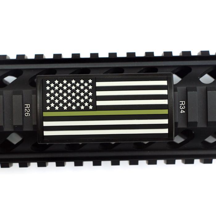Green Line Flag Stars Left PVC Picatinny Rail Cover- Black Retainer