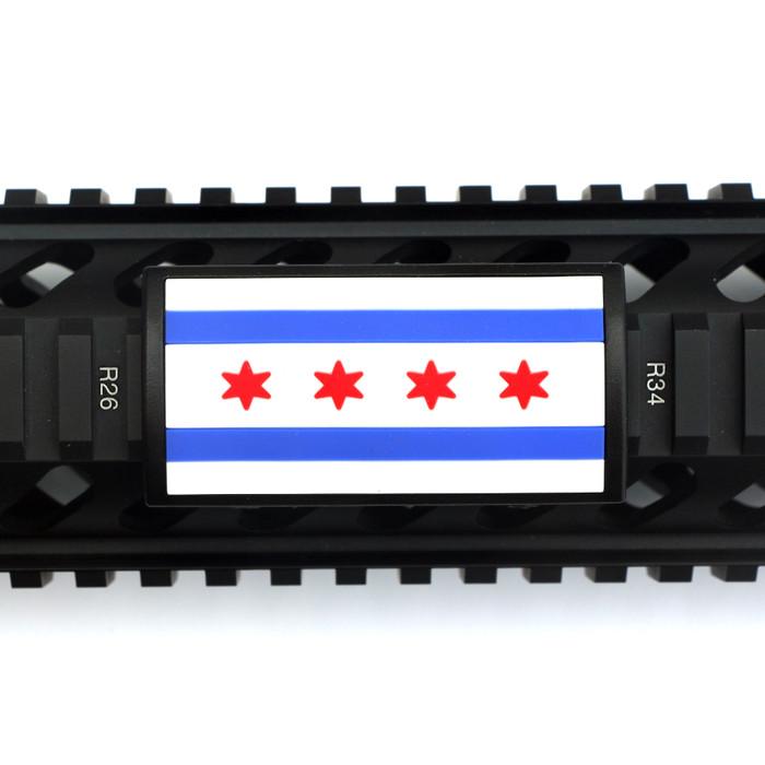 Chicago Flag PVC Picatinny Rail Cover- Black Retainer