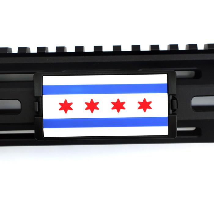 Chicago Flag PVC KeyLok Rail Cover- Black Retainer