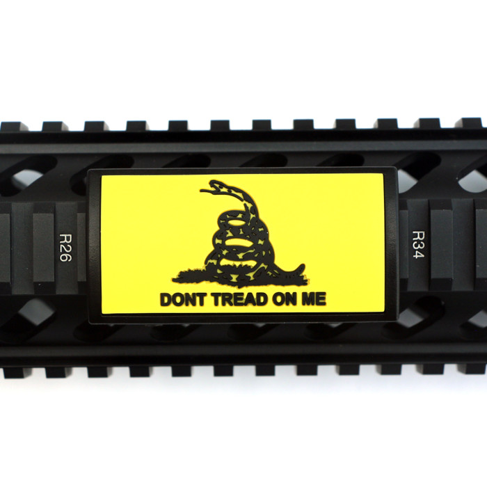 Dont Tread On Me Yellow PVC Picatinny Rail Cover- Black Retainer