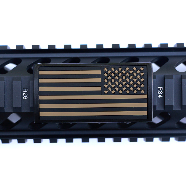 Tan US Flag Stars Right Picatinny- Black Retainer