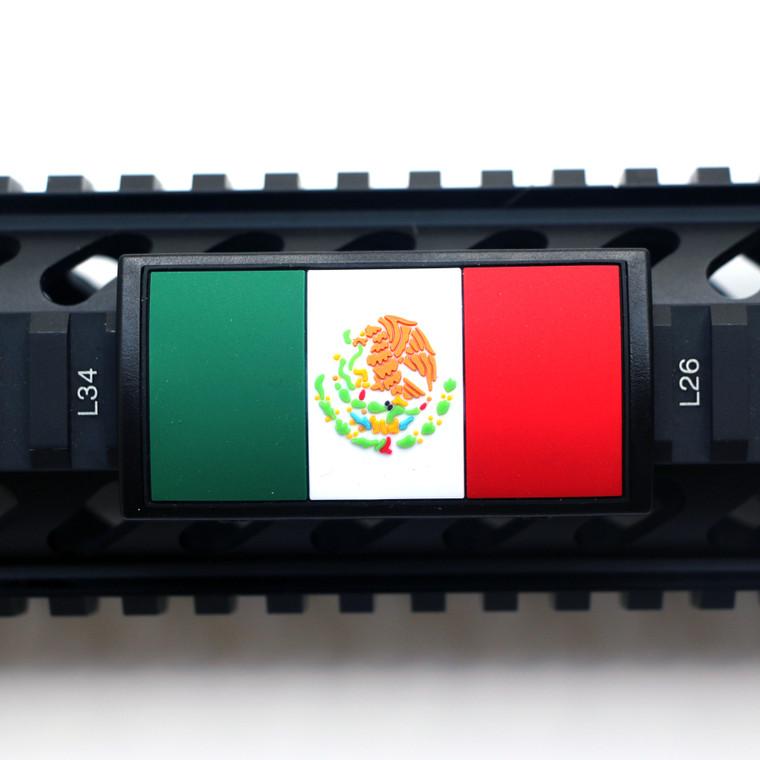 Mexico Flag PVC Picatinny Rail Cover- Black Retainer