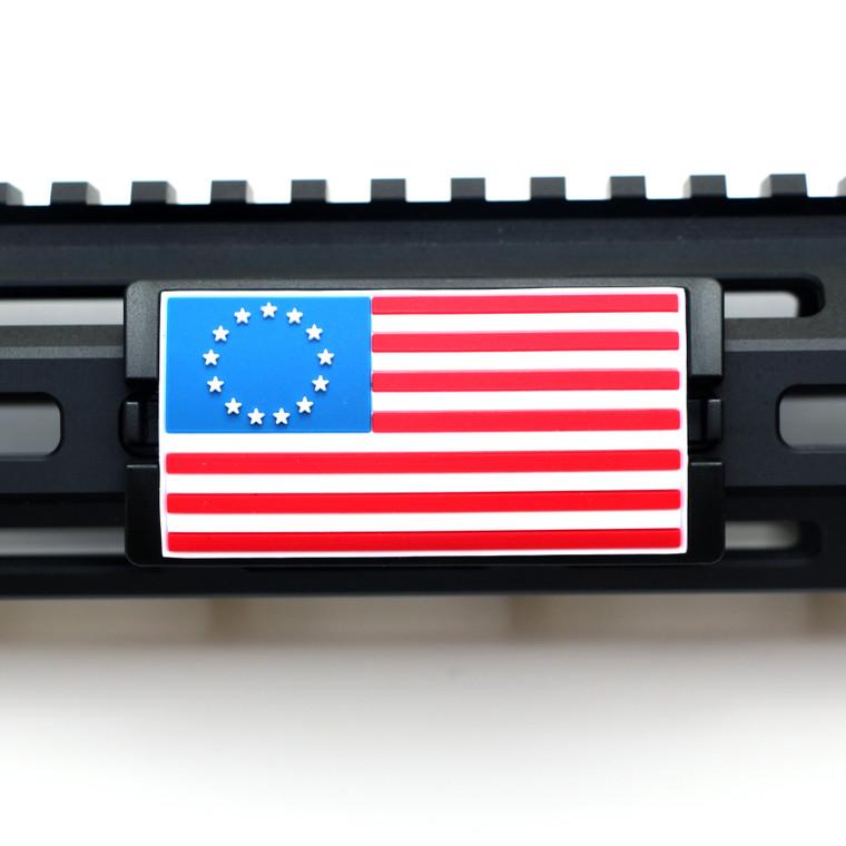 Red, White, and Blue Betsy Ross Flag KeyLok Rail Cover- Black Retainer