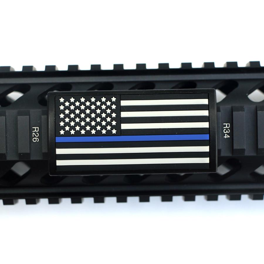 Blue Line Flag Stars Left Picatinny - Black Retainer