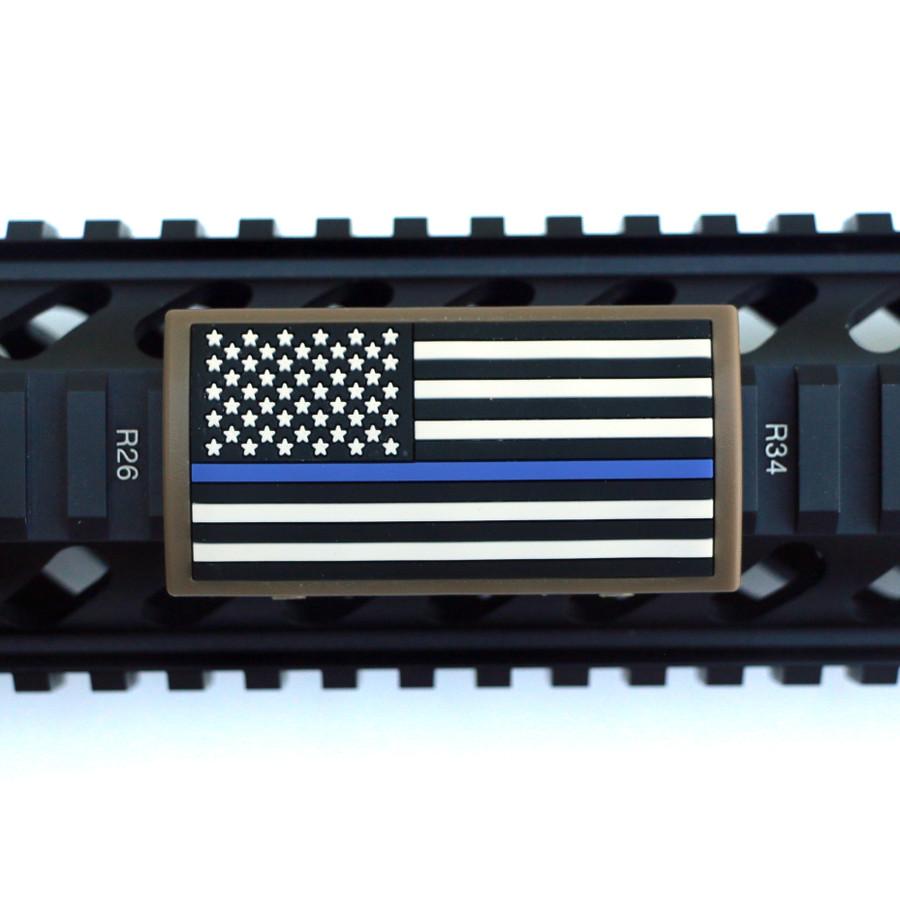 Blue Line Flag Stars Left Picatinny - FDE Retainer