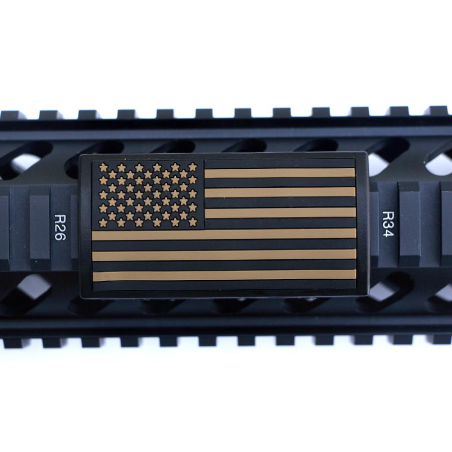 Tan US Flag Stars Left Picatinny - Black Retainer