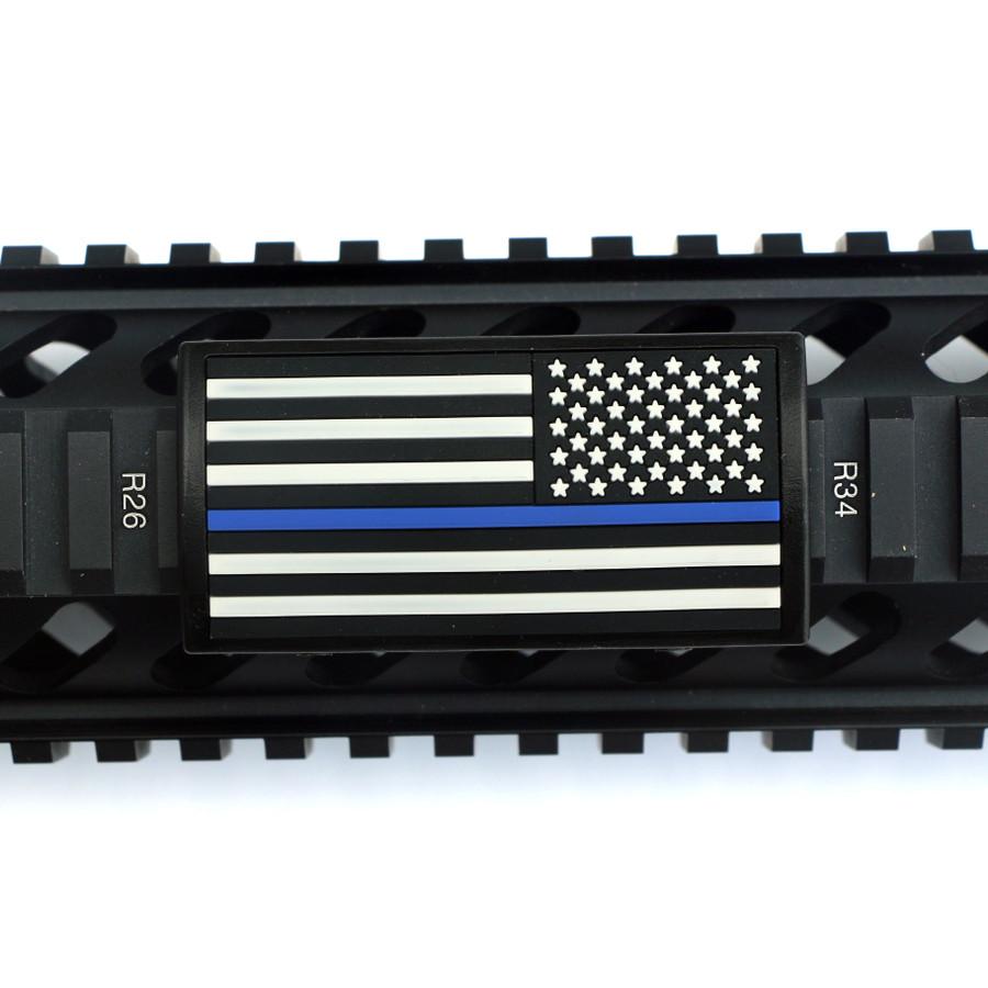 Blue Line Flag Stars Right Picatinny - Black Retainer