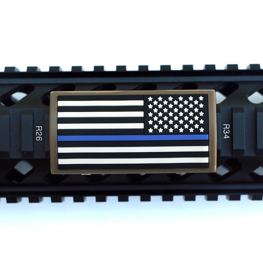 Blue Line Flag Stars Right Picatinny - FDE Retainer