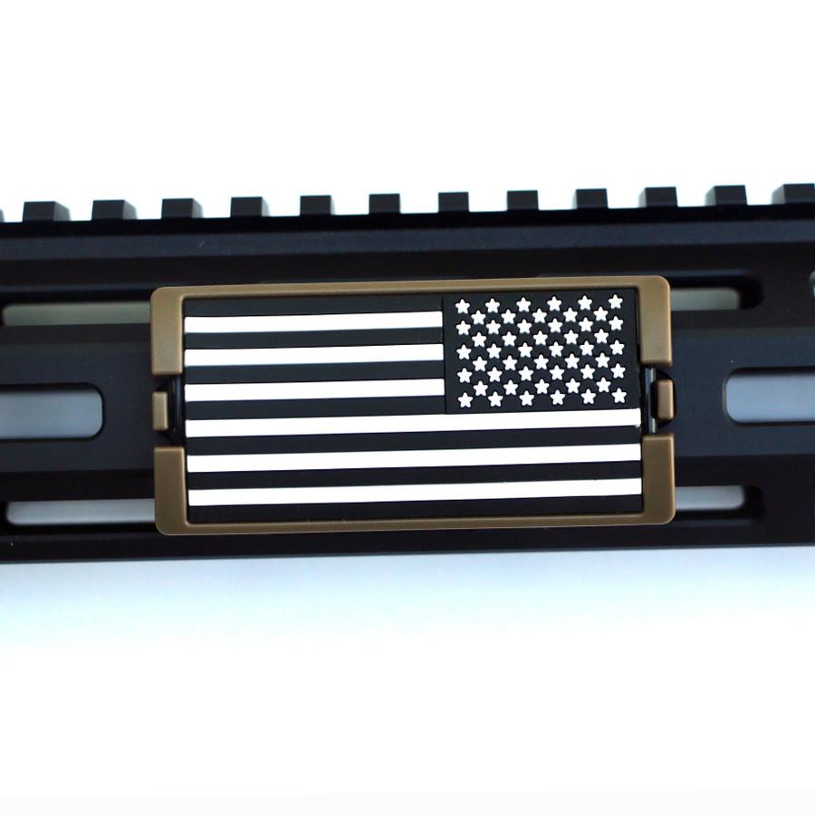 Black & White US Flag Stars Right KeyLok Rail Cover- FDE Retainer