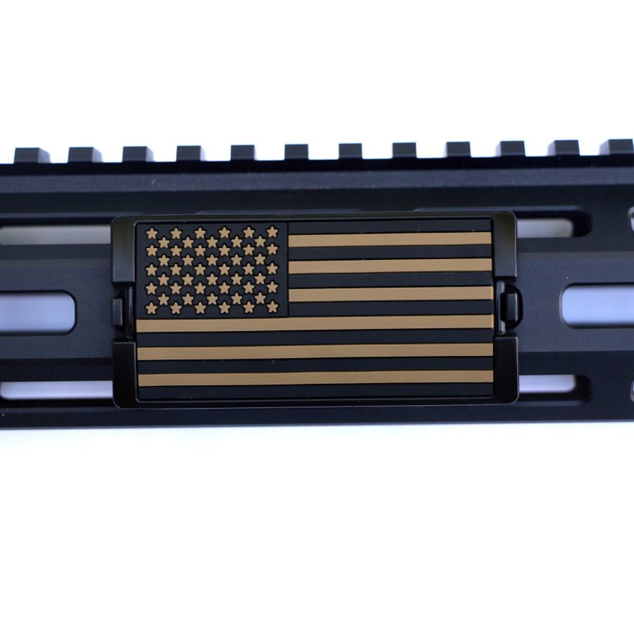 Tan US Flag Stars Left KeyLok Rail Cover- Black Retainer