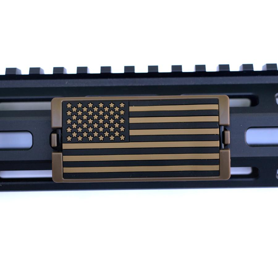 Tan US Flag Stars Left KeyLok Rail Cover- FDE Retainer