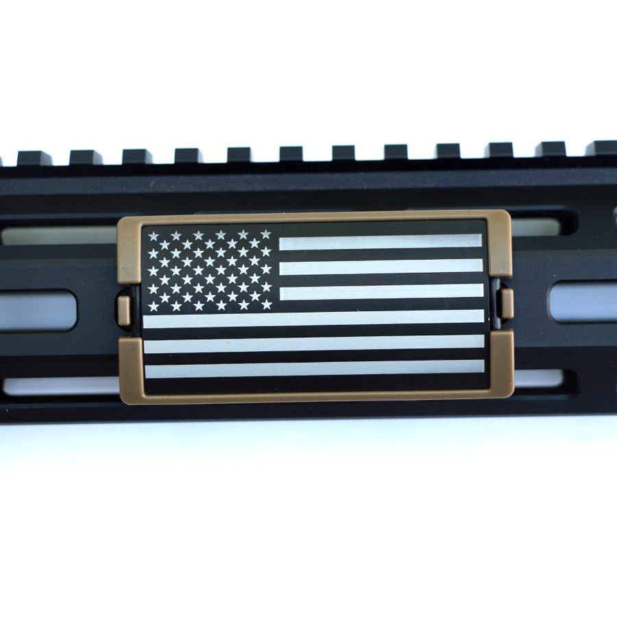 US Flag Laser Engraved Stars Left KeyLok Rail Cover- FDE Retainer