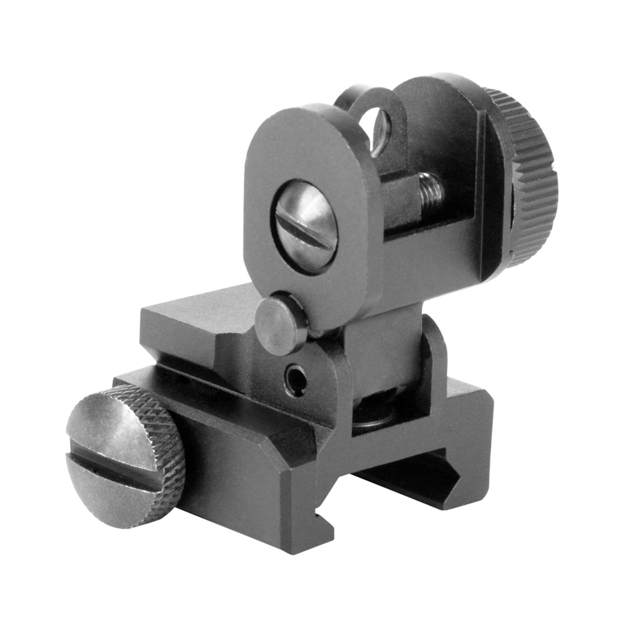 Low Profile Rear Flip Up Sight with A2 Dual Aperture /& locking for Rifles