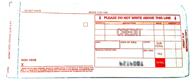Manual Imprinter Credit Draft Slips ( Long)
