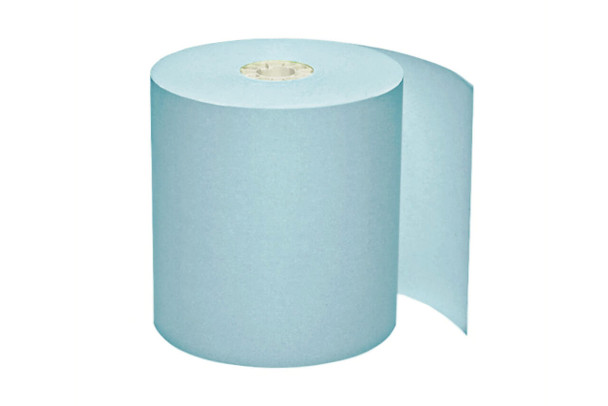 "3 1/8"" x 220' Blue Thermal Paper Rolls"