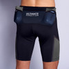 Man wearing Ultimate Direction Men's Hydro Skin Short, rear view, with water bottles