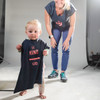 Toddler wearing Ultimate Direction Women's Casual Tee, Navy Blue