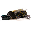 Ultimate Direction 2020 FKT Vest, gray, shown lying down, with top compartment opened