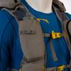 Ultimate Direction 2020 FKT Vest, gray, close up of shoulder strap water bottle pocket, shown on mannequin