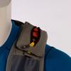 Ultimate Direction 2020 FKT Vest, gray, close up of left shoulder strap pocket, shown on mannequin