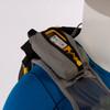 Ultimate Direction 2020 FKT Vest, gray, close up of right shoulder strap pocket, shown on mannequin