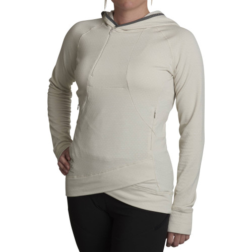 Mist - Woman wearing Ultimate Direction Women's Ultra Hoodie, front view