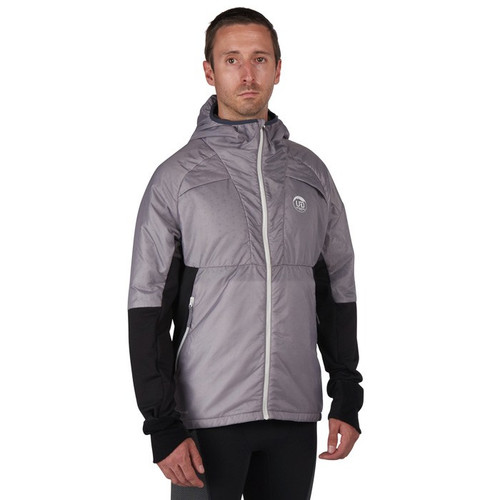 Man wearing Ultimate Direction Men's Ventro Jacket, front view, with jacket zipped