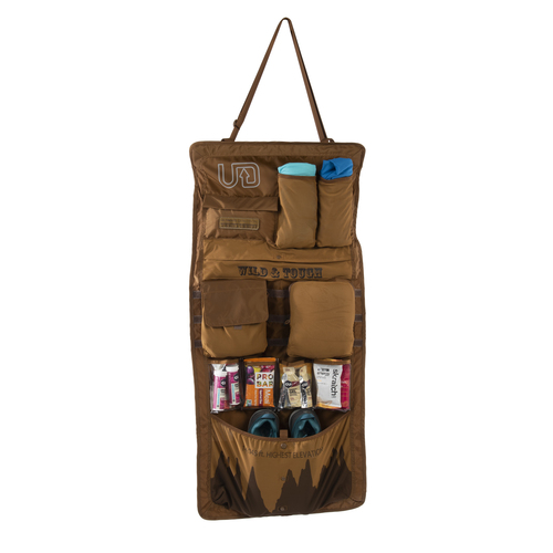 Ultimate Direction Hardroller, brown, front view, shown unrolled, with accessories