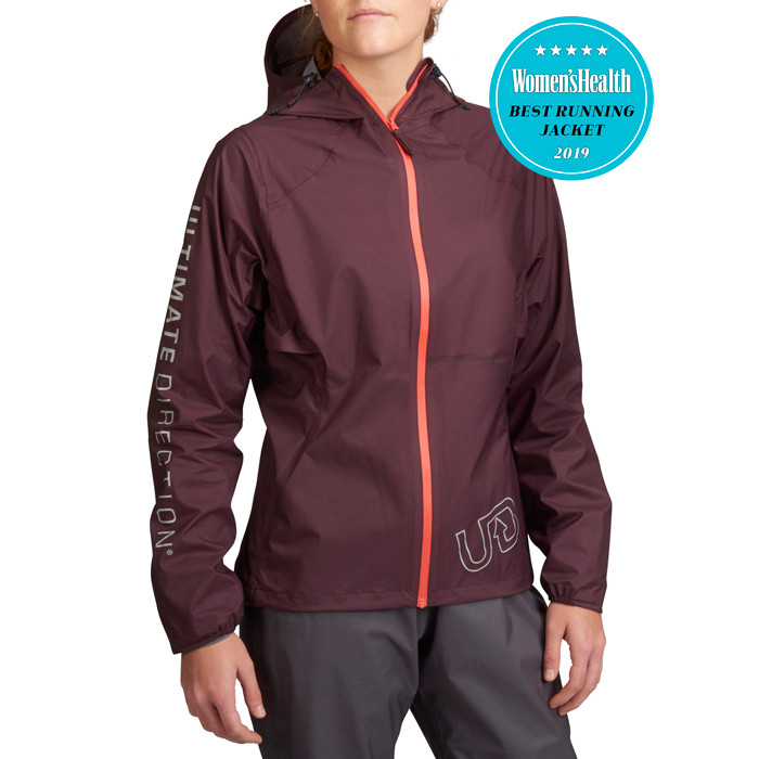 Woman wearing Women's Ultra Jacket V2, burgundy, front view. Image includes an award badge: Women's Health Best Running Jacket 2019