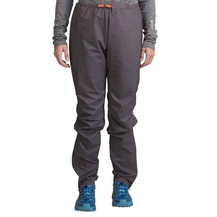Woman wearing Ultimate Direction Women's Ultra Pant V2, gray, front view