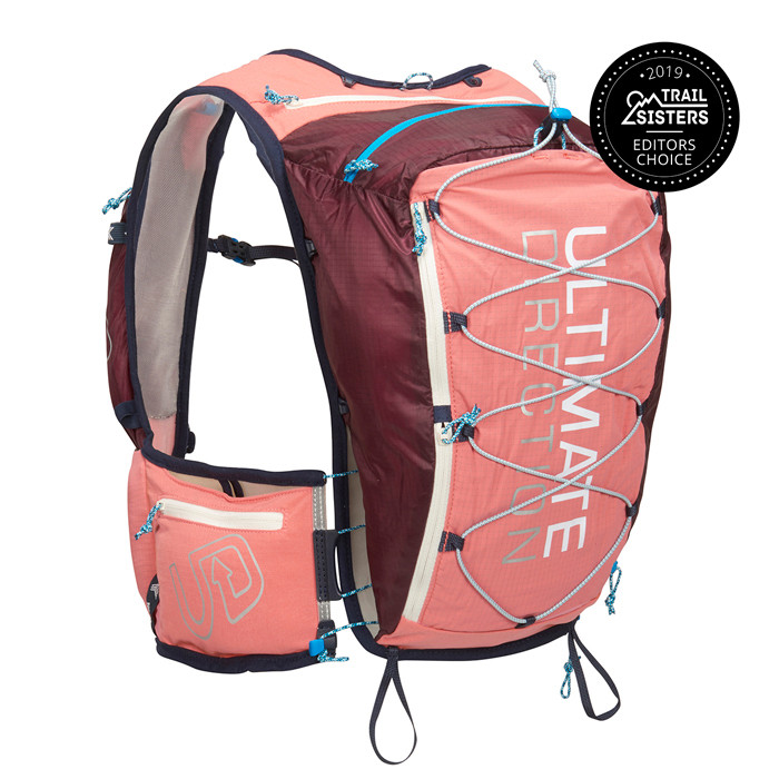 Coral - Ultimate Direction Adventure Vesta 4.0, pink, front view, with award badge: Trail Sisters Editors' Choice 2019