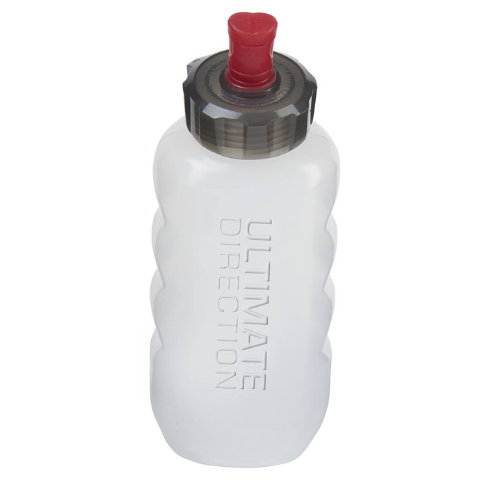 Ultimate Direction Flexform 350 water bottle, front view
