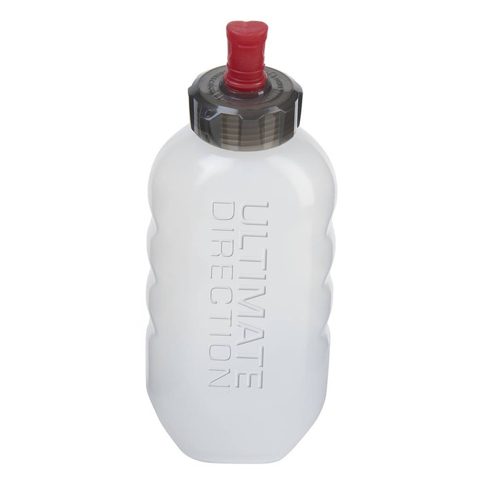 Ultimate Direction Flexform 600 water bottle, front view