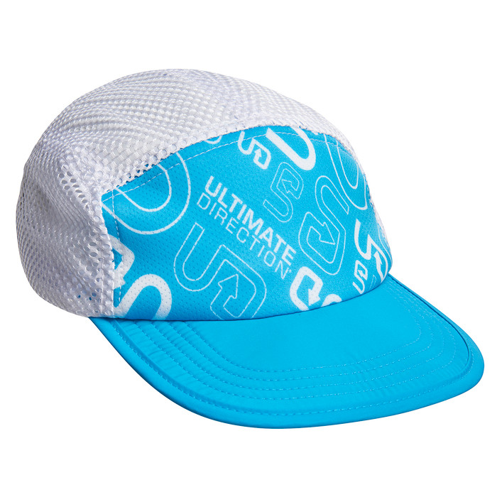 UD Blue - Ultimate Direction The Stoke Hat, white/blue, front view