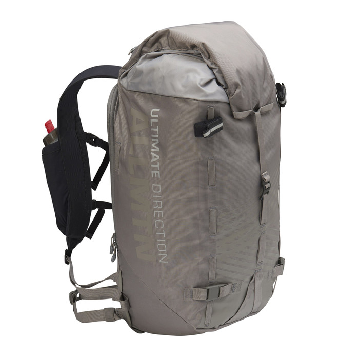Ultimate Direction All Mountain pack, gray, front view