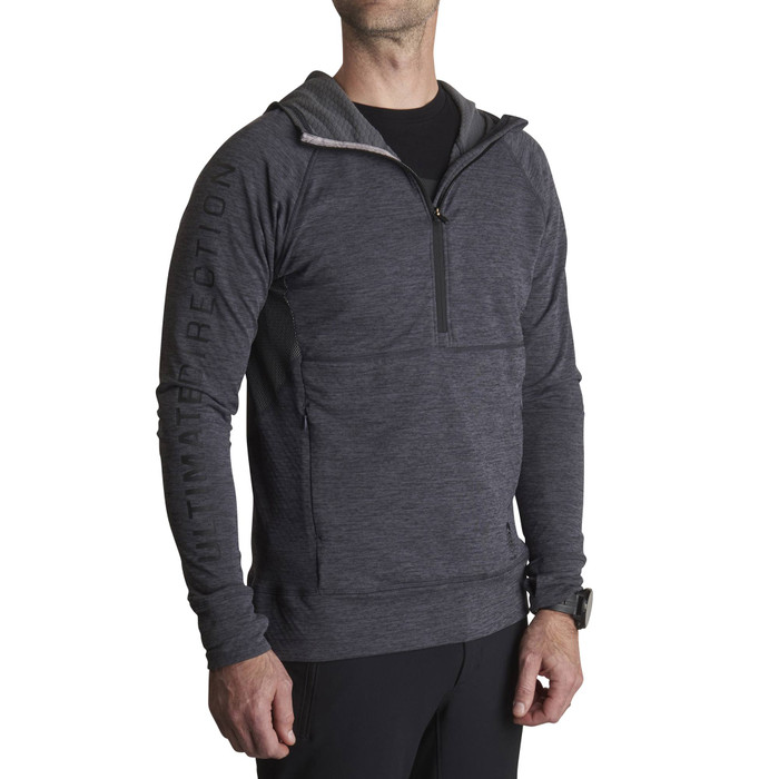 Heather Grey - Man wearing Ultimate Direction Men's Ultra Hoodie, front view
