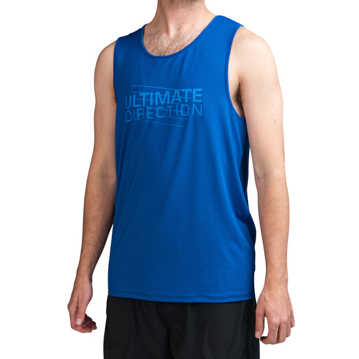 Cyber Blue - Ultimate Direction Men's Tech Tank, front view