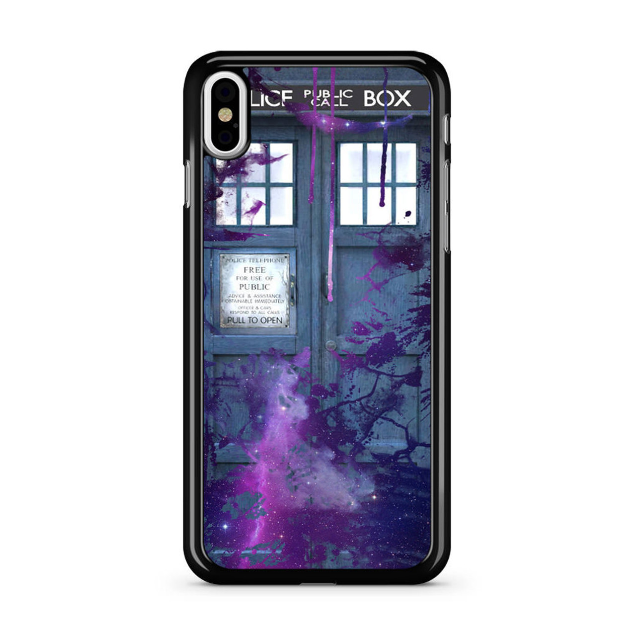 on sale af834 dd61e Dr Who Tardis Police Box Galaxy Nebula iPhone X Case