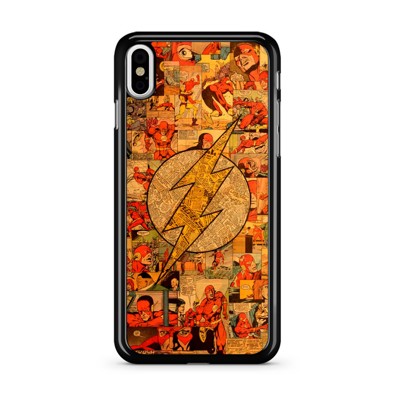flash superhero logo dc comics collage iphone x case caseshunter