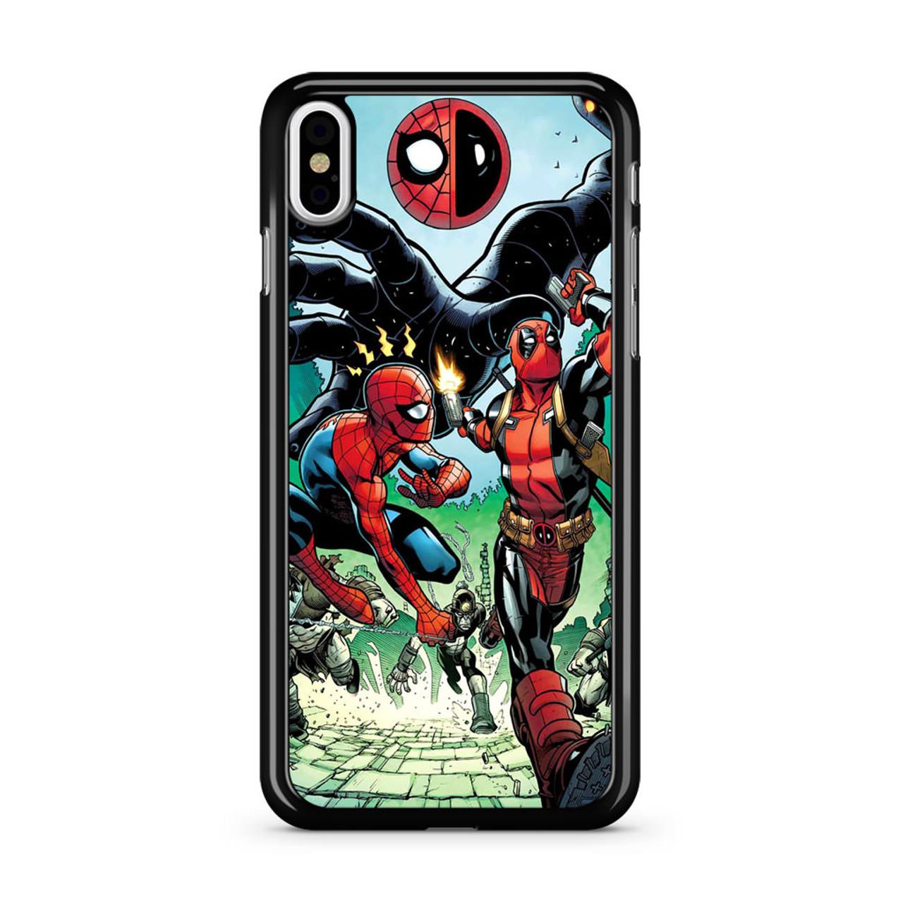 new style da5cf 5d622 Spiderman Deadpool Comics iPhone X Case