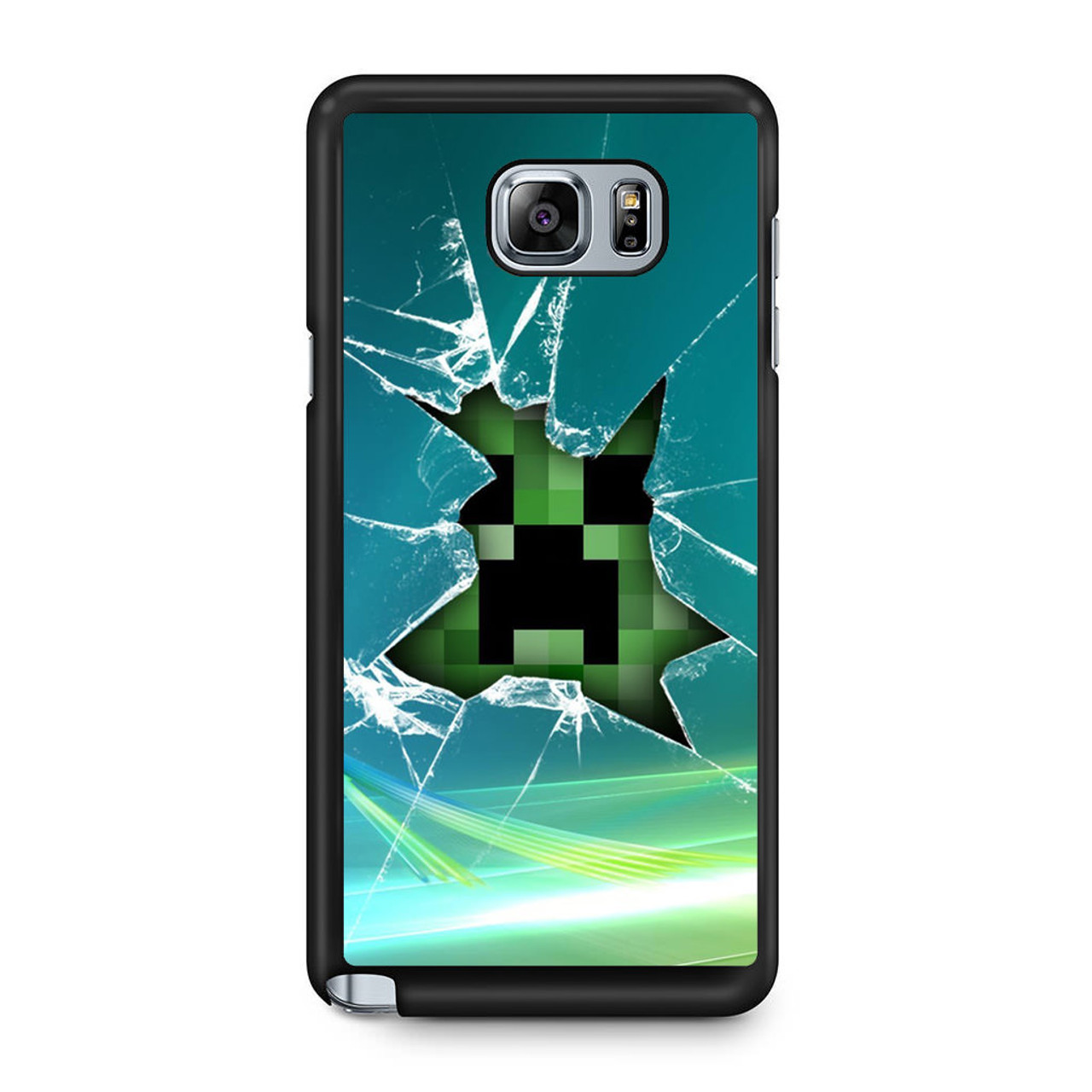 Minecraft Creeper Glass Broken Samsung Galaxy Note 5 Case - CASESHUNTER 2d92c5b06